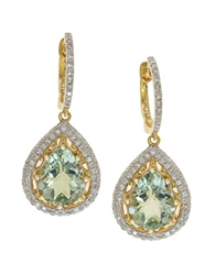 Effy Green Amethyst Diamond And 14K Yellow Gold Drop Earrings 0.55 Tcw