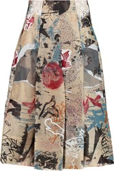 Donna Karan Pleated Printed Silk Chiffon Midi Skirt Brown