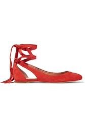 Sigerson Morrison Elami Lace Up Suede Flats Tomato Red