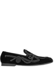 Dolce And Gabbana Lace Trimmed Velvet Loafers Black