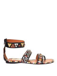 Valentino Hand Painted Leather Flat Sandals Multi