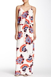 Pink Owl Draped Bust Floral Maxi Dress White