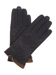 Barbour Tartan Trimmed Leather Glove Navy