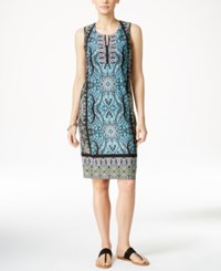 Jm Collection Printed Sheath Dress Only At Macy's Turquoise Medal