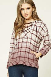Forever 21 Plaid Flannel Lace Up Hoodie Burgundy Taupe