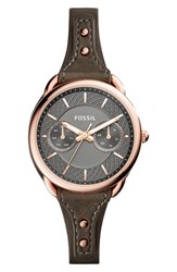 Fossil Women's 'Tailor' Multifunction Leather Strap Watch 35Mm