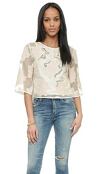 Tibi Beaded Crop Top Shell Ivory