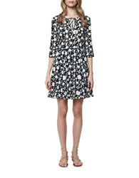 Erin Fetherston Floral Pleated Skater Dress Black Multi