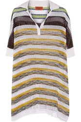 Missoni Oversized Metallic Striped Crochet Knit Top White