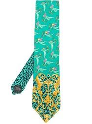 Versace Vintage Cheetah And Angels Print Tie Green
