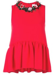 Msgm Floral Applique Ruffled Blouse Red