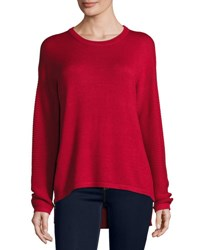 P. Luca Ribbed Sleeve High Low Side Zip Sweater Red