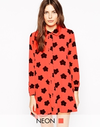 Ax Paris Daisy Print Shirt Dress Orange