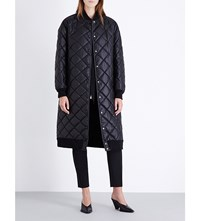 Stella Mccartney Quilted Faux Leather Coat Blk