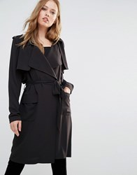 Y.A.S Ophelia Soft Drapey Trenchcoat Black
