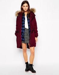Only Long Line Parka With Fur Hood Red