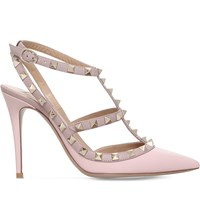 Valentino Rockstud 100 Leather Heeled Courts Pale Pink