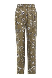 3.1 Phillip Lim Printed Silk Harem Pants Green