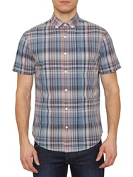 Penguin Checked Short Sleeve Shirt Dark Denim