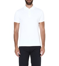 Armani Jeans Logo Embroidered Polo Shirt White
