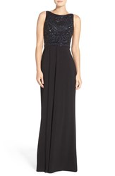 Adrianna Papell Women's Beaded Bodice Jersey Gown Navy Black