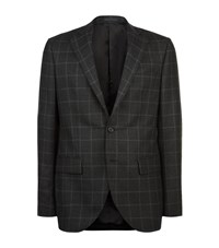 Harrods Of London Checked Flannel Blazer Male Dark Grey