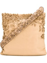 Etro Floral Applique Shoulder Bag Nude And Neutrals