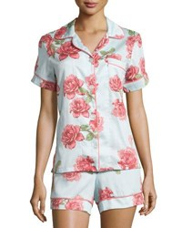 Bedhead Vintage Rose Print Short Pajama Set Light Blue Lt Blue Rose