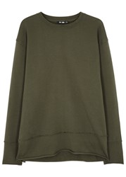 Blk Dnm Army Green Reverse Seam Cotton Sweatshirt