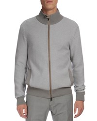 Berluti Textured Cashmere Full Zip Cardigan Gray