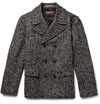 Michael Kors Kor Double Breated Herringbone Lub Wool Blend Peacoat Black