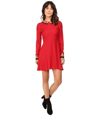 Rachel Antonoff Jessica Fit And Flare Dress Poppy Women's Dress Red