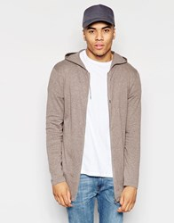 Asos Longline Knitted Zip Through Hoodie Brown