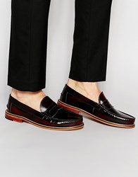 Ben Sherman Bouy Penny Loafers In Burgundy Red
