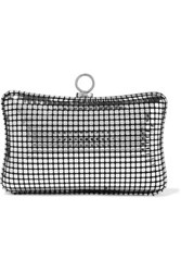 Halston Heritage Metallic Printed Brushed Suede Clutch Silver