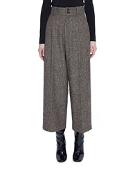 Pink Tartan Donegal High Waist Trouser Brown