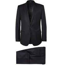 Dolce And Gabbana Blue Martini Slim Fit Virgin Wool Silk Blend Suit Navy