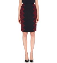 Ted Baker Lace Detail Stretch Cotton Pencil Skirt Navy