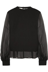Antonio Berardi Silk Chiffon And Wool Crepe Blouse
