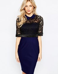 Vesper Collared Lace Top Pencil Dress With 3 4 Sleeve Black