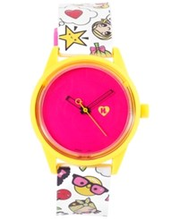 Harajuku Lovers Unisex Solar Emoji Emoji Party Strap Watch 40Mm Hl2317
