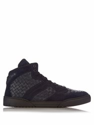 Bottega Veneta Intrecciato High Top Leather And Suede Trainers Navy