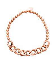 Lord And Taylor 18K Rose Gold Beaded Curbed Chain Stretchy Bracelet