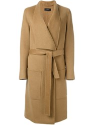 Joseph Belted Midi Coat Nude And Neutrals