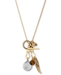 Lucky Brand Two Tone Wing Disc And Stone Charm Pendant Necklace Two Tone