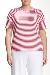 Joan Vass Striped Short Sleeve Tee Plus Size Pink