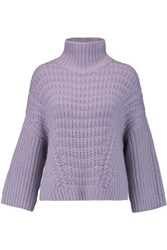 Autumn Cashmere Chunky Knit Turtleneck Sweater Lavender