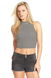 Junior Women's Soprano Mock Neck Crop Tank Black White