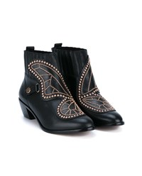 Sophia Webster Butterfly Studded Leather Ankle Boots Black Multi Coloured Almond Bronze Denim