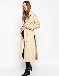 Asos Trench With Raglan Sleeve In Midi Length Nude